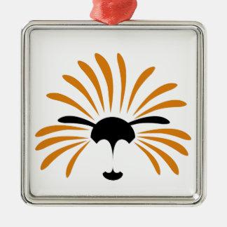 Ornement Carré Argenté Illustration solaire de lion, drôle, bande