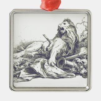 Ornement Carré Argenté Illustration vintage de lion