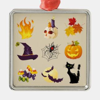 Ornement Carré Argenté Illustrations heureuses de Halloween
