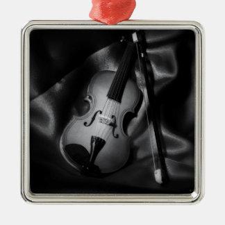 Ornement Carré Argenté image de b&W de l'Encore-vie d'un violon