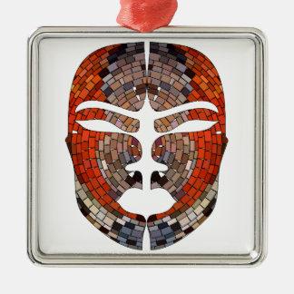 Ornement Carré Argenté Imitation de résumé de masque africain