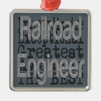 Ornement Carré Argenté Ingénieur de chemin de fer Extraordinaire