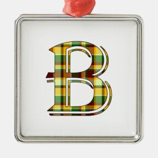 Ornement Carré Argenté Initiale de plaid de B