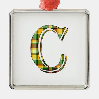 Ornement Carré Argenté Initiale de plaid de C