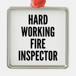 Ornement Carré Argenté Inspecteur travaillant dur du feu