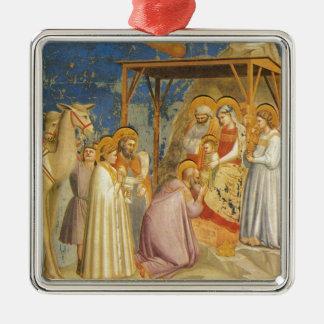 Ornement Carré Argenté Inspiré-Bible bénissant bon Jésus de peinture