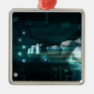 Ornement Carré Argenté Interface futuriste avec l'utilisateur androïde de