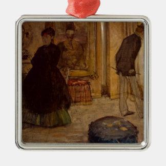 Ornement Carré Argenté Intérieur d'Edgar Degas | avec deux figures, 1869