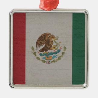 Ornement Carré Argenté International de drapeau du Mexique