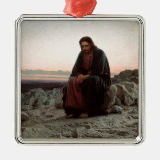 Ornement Carré Argenté Ivan Kramskoy- le Christ dans la région sauvage -