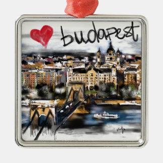 Ornement Carré Argenté J'aime Budapest