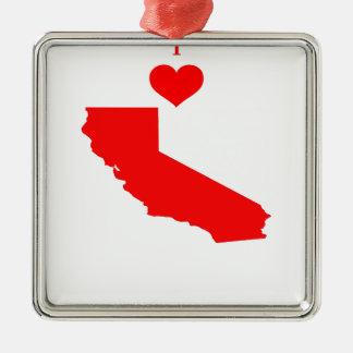Ornement Carré Argenté J'aime (coeur) la Californie