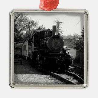 Ornement Carré Argenté J'aime de vieux trains - arcade et chemin de fer