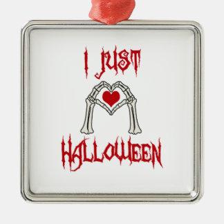 Ornement Carré Argenté J'aime juste Halloween