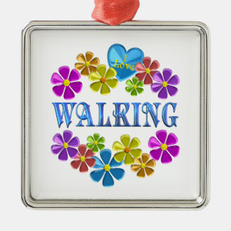 Ornement Carré Argenté J'aime marcher