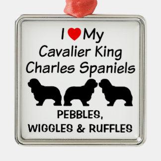 Ornement Carré Argenté J'aime mes trois chiens cavaliers d'épagneul du