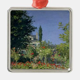 Ornement Carré Argenté Jardin fleurissant de Claude Monet   chez