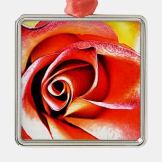Ornement Carré Argenté Jaune orange de fleur de fleur florale de pétales