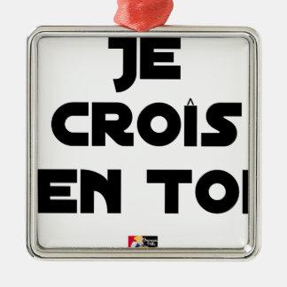 Ornement Carré Argenté Je croîs en Toi - Jeux de Mots - Francois Ville