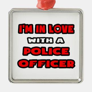 Ornement Carré Argenté Je suis dans l'amour avec un policier