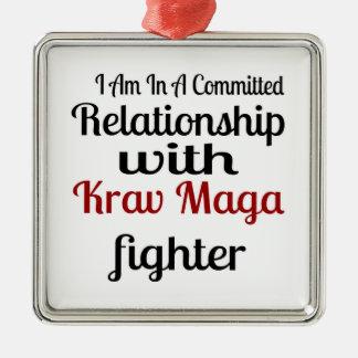 Ornement Carré Argenté Je suis dans un rapport commis avec Krav Maga fi