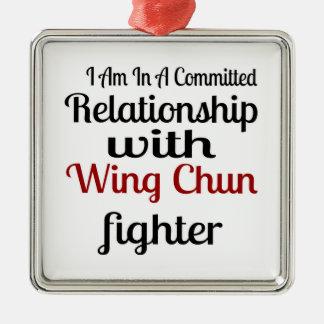 Ornement Carré Argenté Je suis dans un rapport commis avec l'aile Chun fi