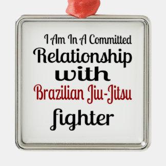 Ornement Carré Argenté Je suis dans un rapport commis avec le Brésilien