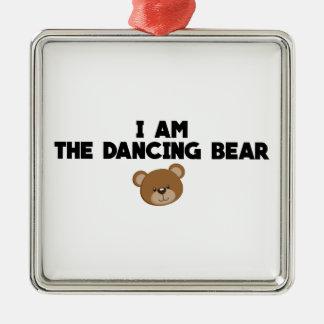 Ornement Carré Argenté Je suis l'ours de danse