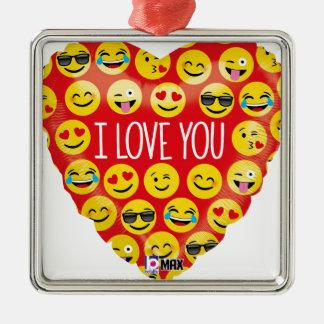 Ornement Carré Argenté Je t'aime coeur d'emoji