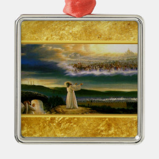 Ornement Carré Argenté Jésus à la conception de texture d'or de la porte