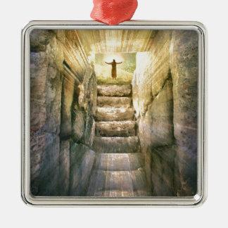 Ornement Carré Argenté Jésus à la résurrection vide de Pâques de tombe