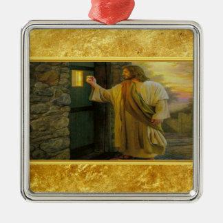 Ornement Carré Argenté Jésus à votre porte avec une conception de feuille