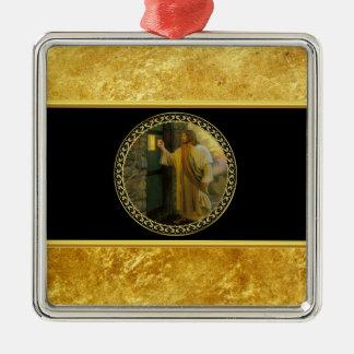 Ornement Carré Argenté Jésus à votre porte dans la feuille d'or et le