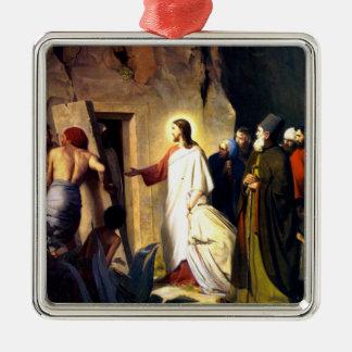 Ornement Carré Argenté Jésus élevant Lazarre des morts