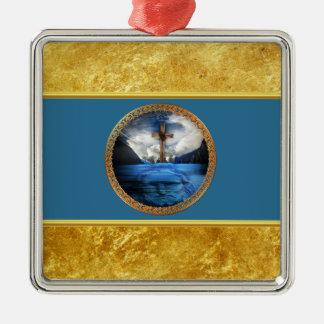 Ornement Carré Argenté Jésus en mer avec une croix et une feuille d'or en