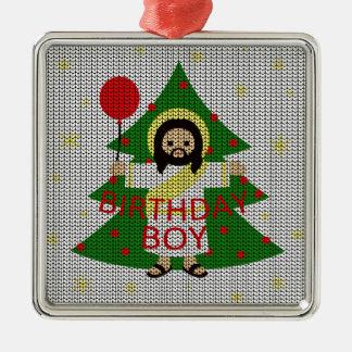 Ornement Carré Argenté Jésus - Noël