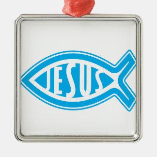 Ornement Carré Argenté Jésus-Poisson