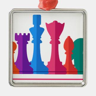 Ornement Carré Argenté Jeu d'échecs