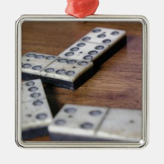 Ornement Carré Argenté Jeu vintage en bois de dominos de domino de
