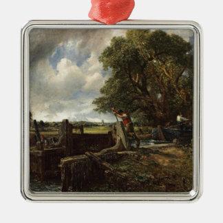 Ornement Carré Argenté John Constable - la serrure - paysage de campagne