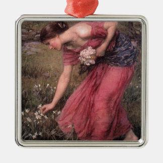 Ornement Carré Argenté John William Waterhouse - narcisse - beaux-arts