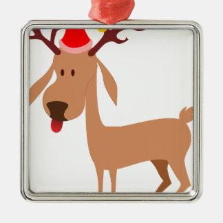 Ornement Carré Argenté Joie de vacances de Noël de renne