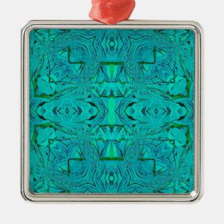 Ornement Carré Argenté Joli motif tribal bleu vert au néon