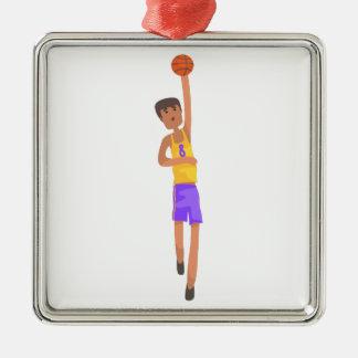 Ornement Carré Argenté Joueur de basket avec l'autocollant d'action de