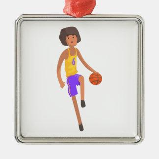 Ornement Carré Argenté Joueur de basket fonctionnant avec l'autocollant