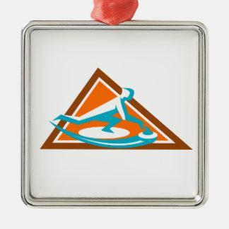 Ornement Carré Argenté Joueur de bordage glissant l'icône en pierre de