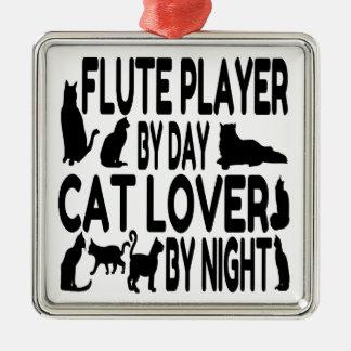 Ornement Carré Argenté Joueur de cannelure d'amoureux des chats