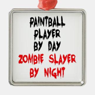 Ornement Carré Argenté Joueur de Paintball de tueur de zombi