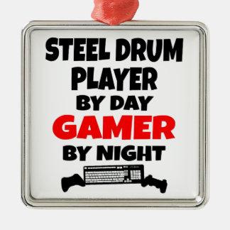 Ornement Carré Argenté Joueur de tambour métallique de Gamer
