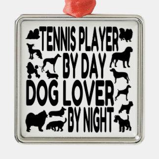 Ornement Carré Argenté Joueur de tennis d'amoureux des chiens